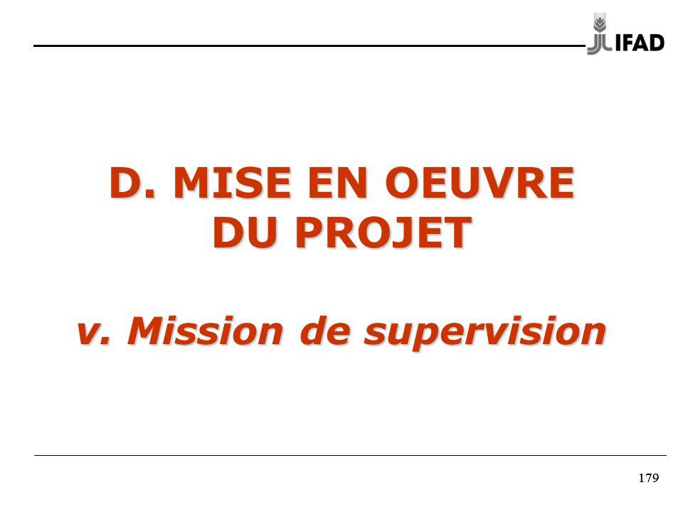 D. MISE EN OEUVRE DU PROJET v. Mission de supervision