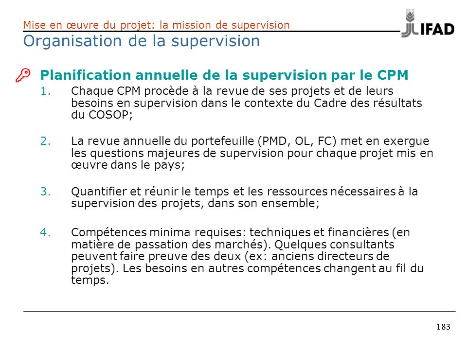 Organisation de la supervision