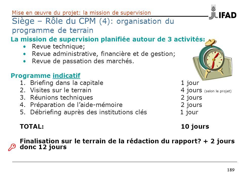 Siège – Rôle du CPM (4): organisation du programme de terrain