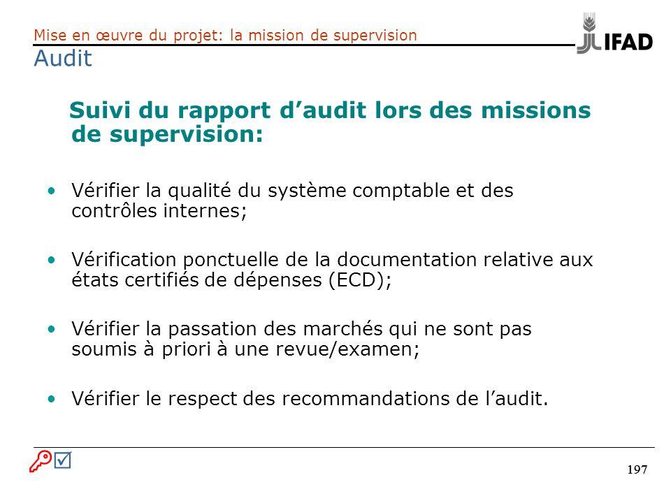 Suivi du rapport d'audit lors des missions de supervision: