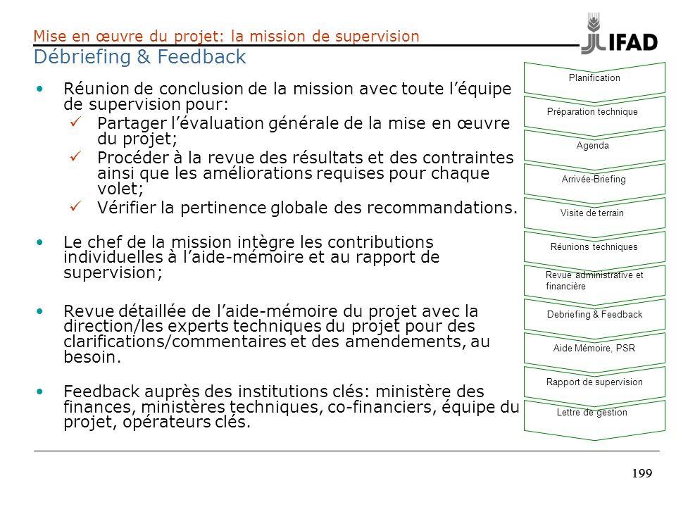 Mise en œuvre du projet: la mission de supervision