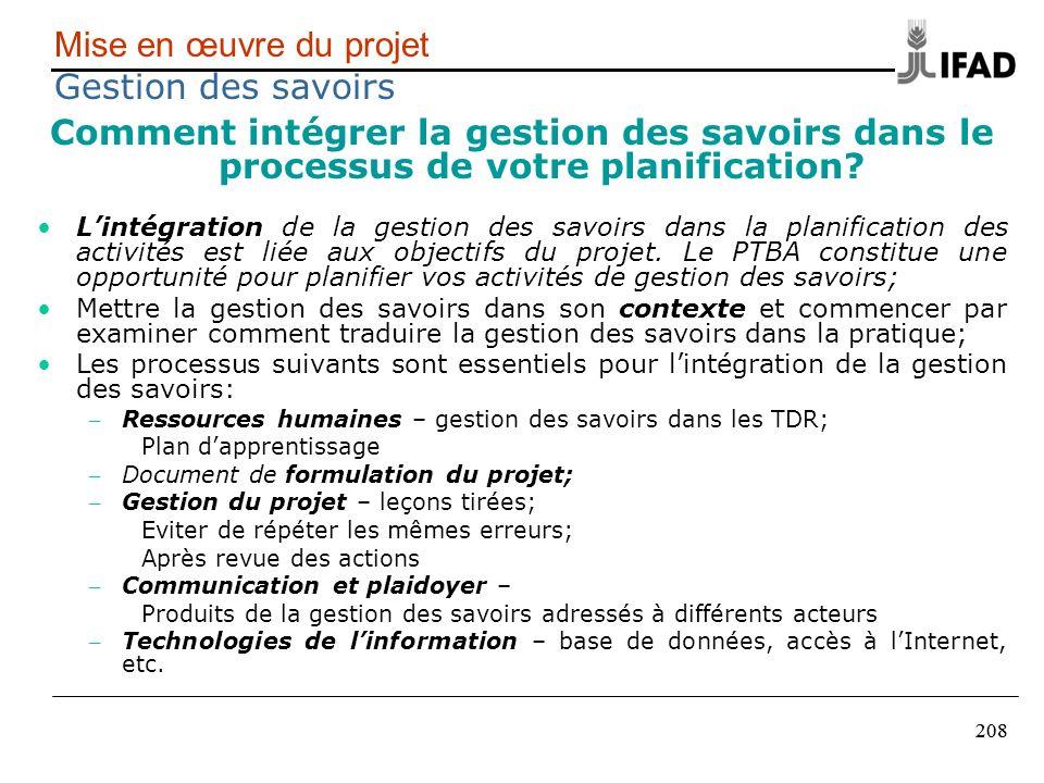 Mise en œuvre du projet Gestion des savoirs