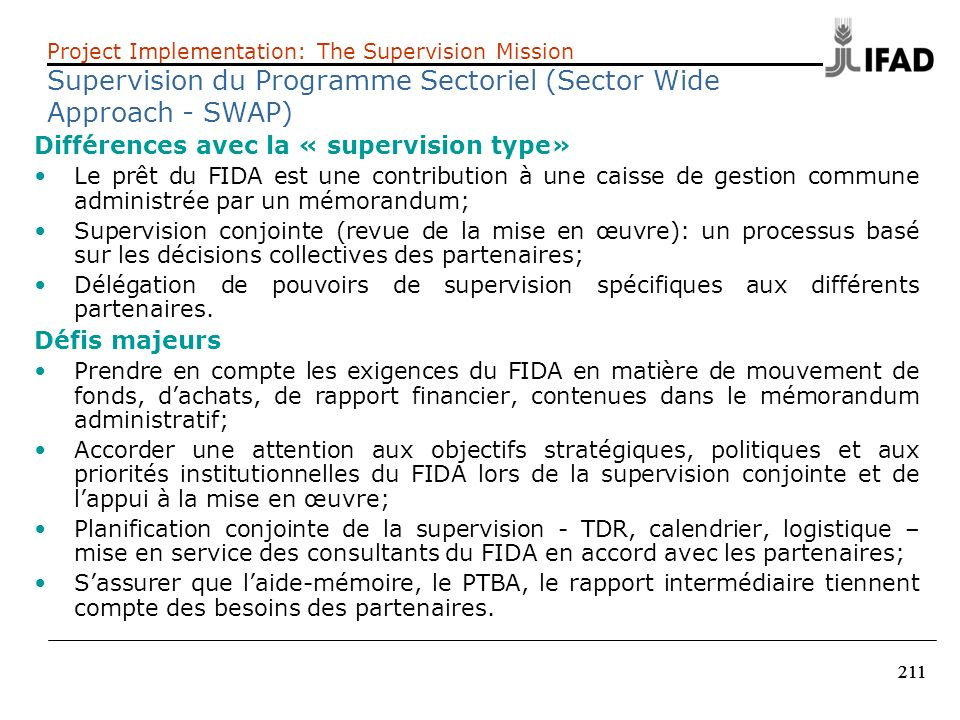 Supervision du Programme Sectoriel (Sector Wide Approach - SWAP)