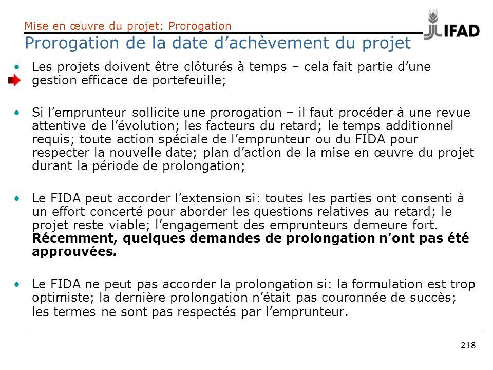 Prorogation de la date d'achèvement du projet