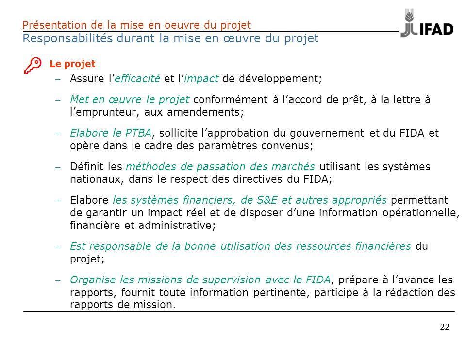 Responsabilités durant la mise en œuvre du projet
