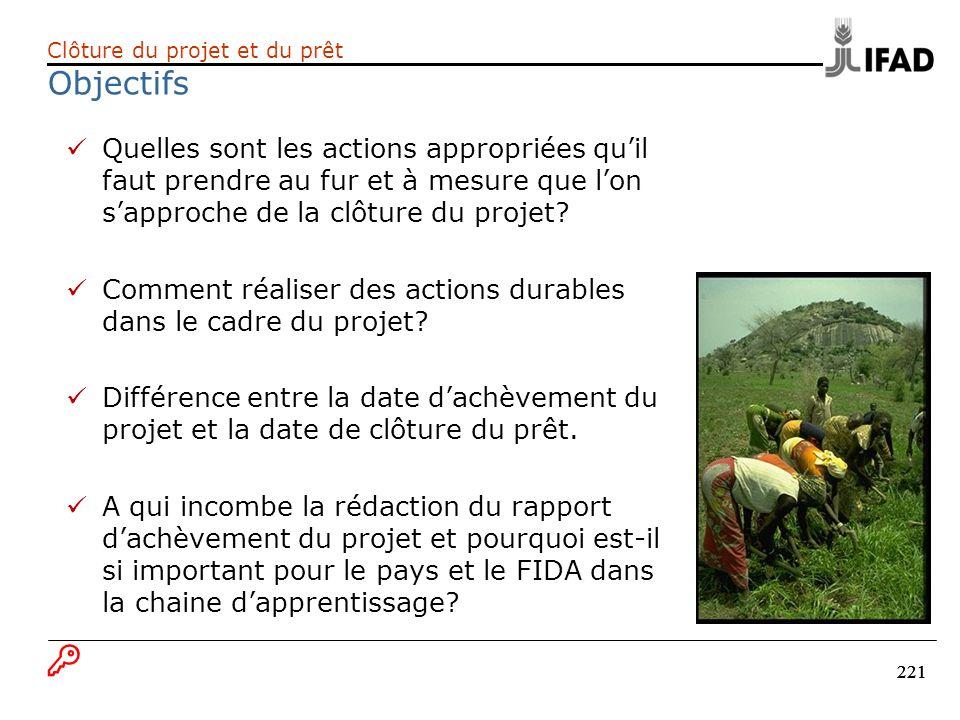 Clôture du projet et du prêt