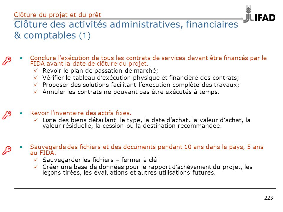Clôture des activités administratives, financiaires & comptables (1)