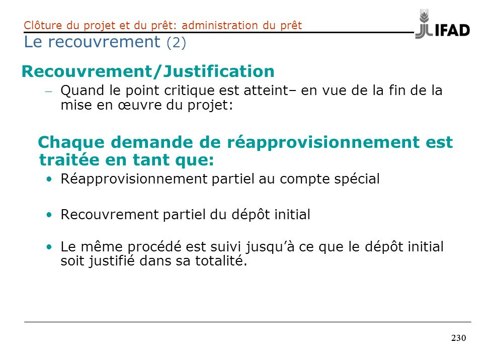 Recouvrement/Justification