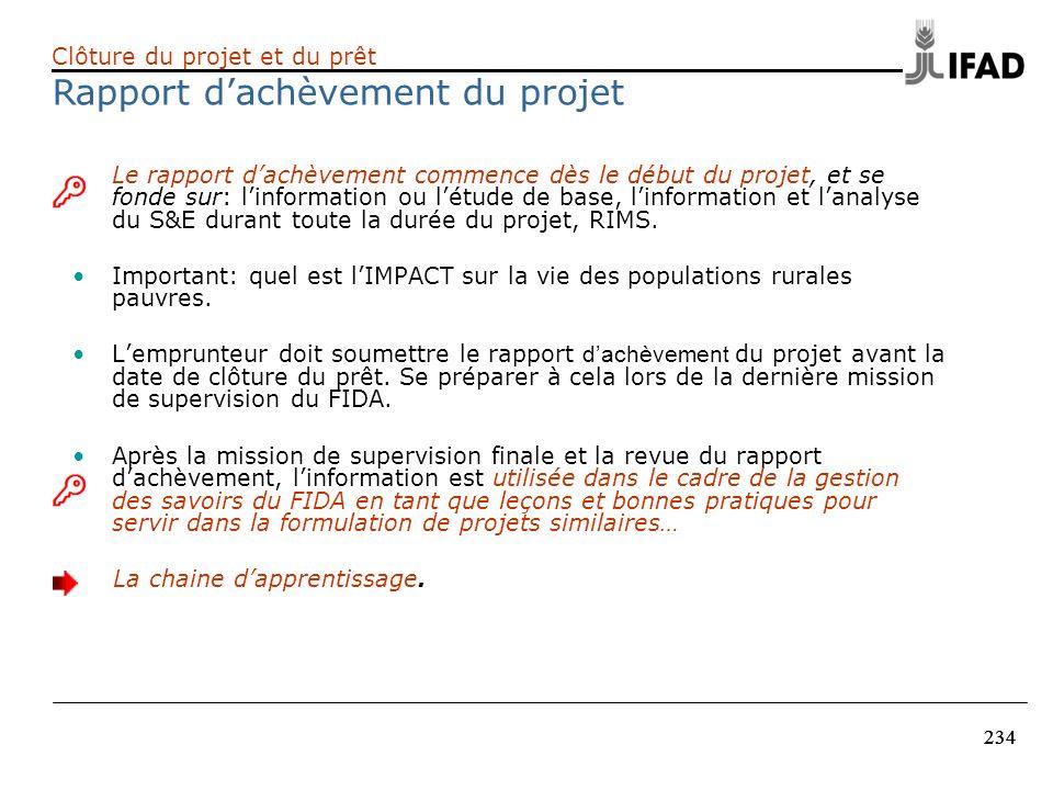 Rapport d'achèvement du projet