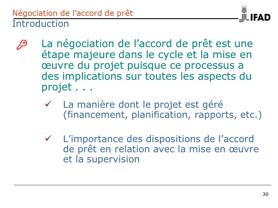 Négociation de l'accord de prêt Introduction