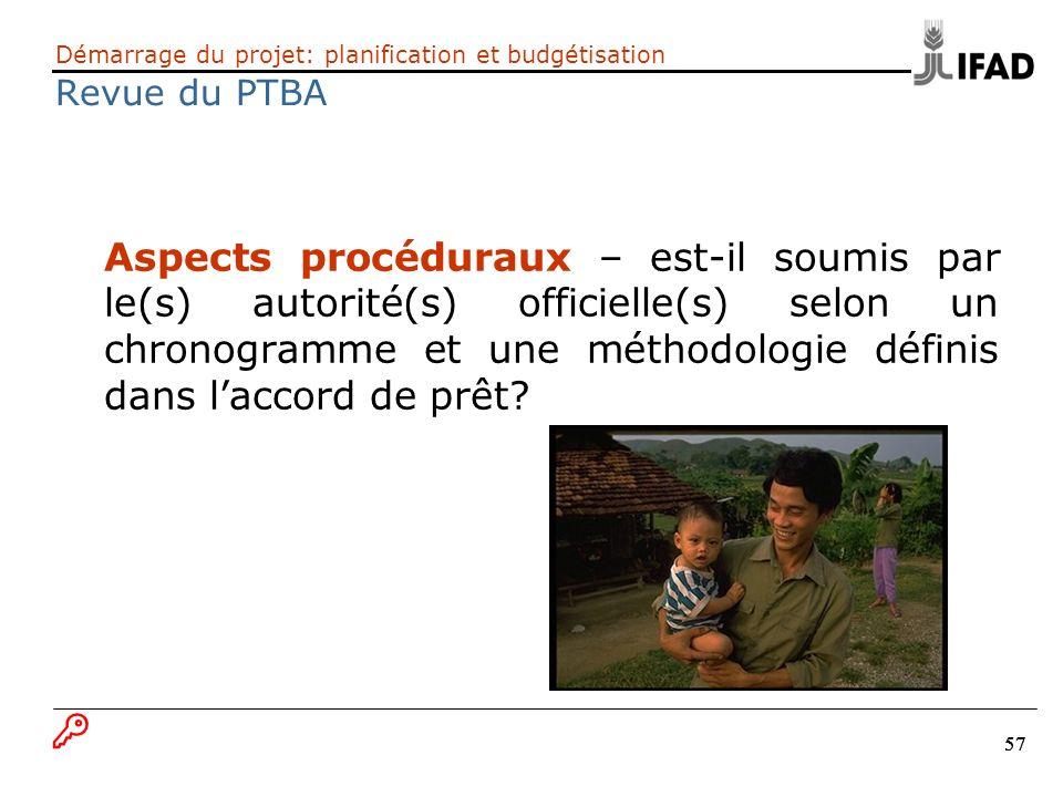 Démarrage du projet: planification et budgétisation Revue du PTBA