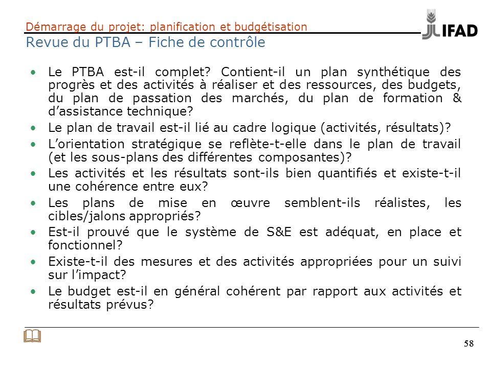 Démarrage du projet: planification et budgétisation Revue du PTBA – Fiche de contrôle