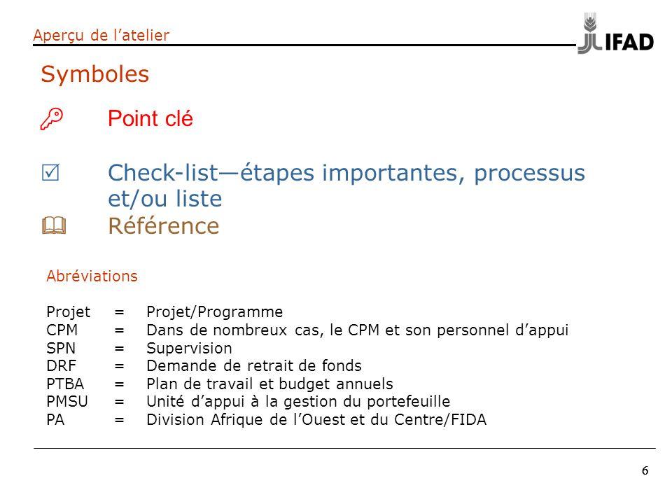 Check-list—étapes importantes, processus et/ou liste & Référence