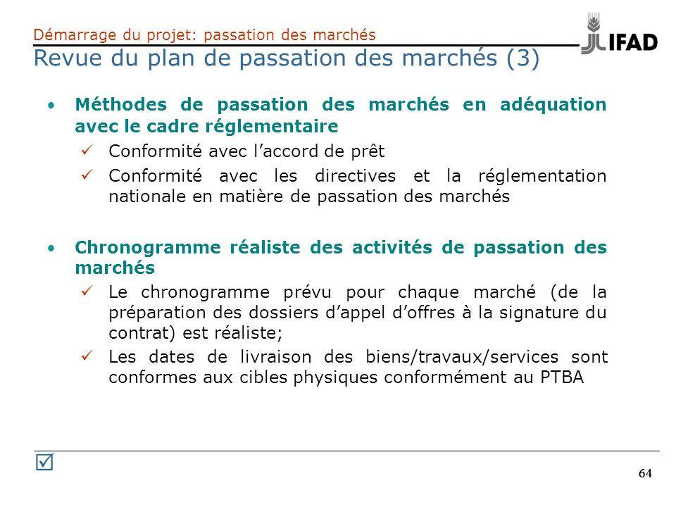 Revue du plan de passation des marchés (3)