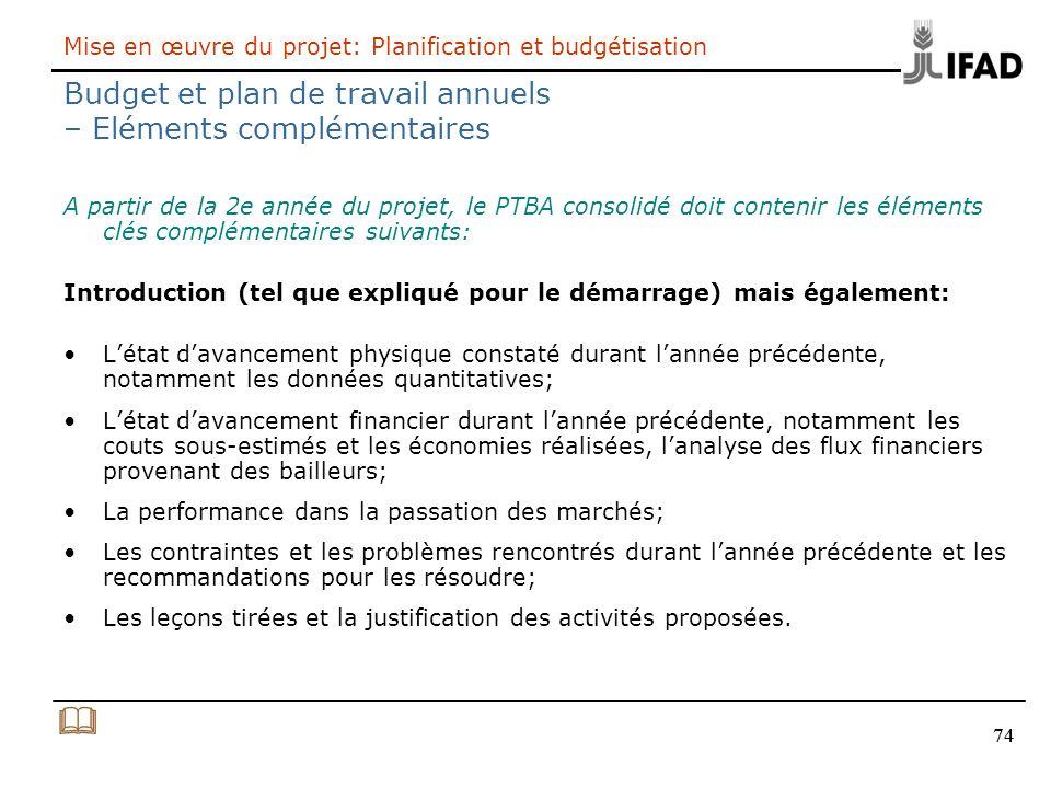 Mise en œuvre du projet: Planification et budgétisation Budget et plan de travail annuels – Eléments complémentaires