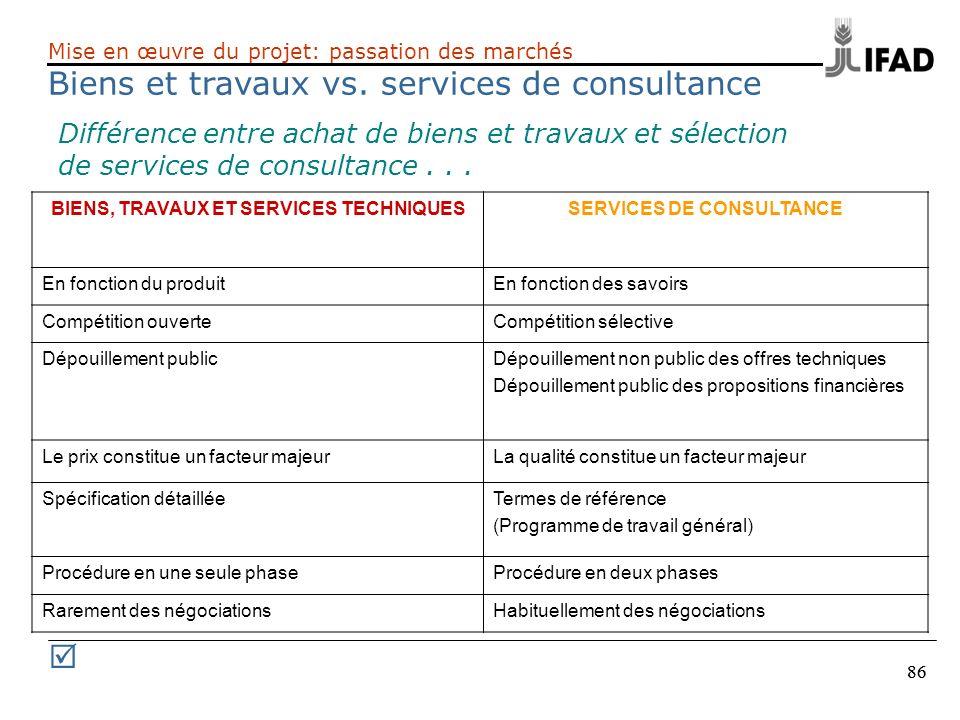 BIENS, TRAVAUX ET SERVICES TECHNIQUES SERVICES DE CONSULTANCE