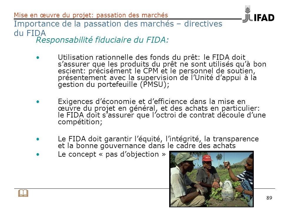 & Importance de la passation des marchés – directives du FIDA