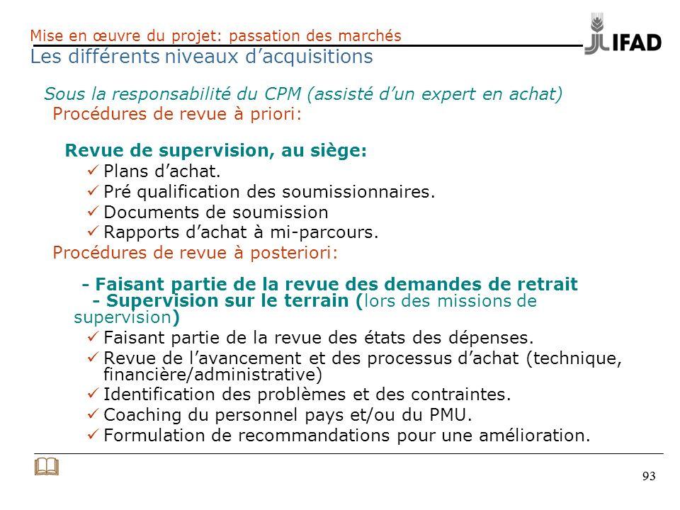 & Les différents niveaux d'acquisitions Procédures de revue à priori: