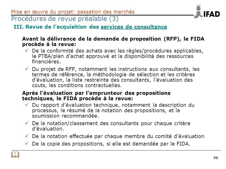 & Procédures de revue préalable (3)