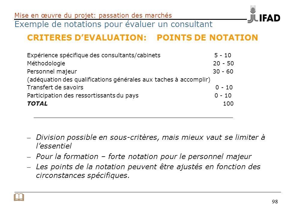 & CRITERES D'EVALUATION: POINTS DE NOTATION