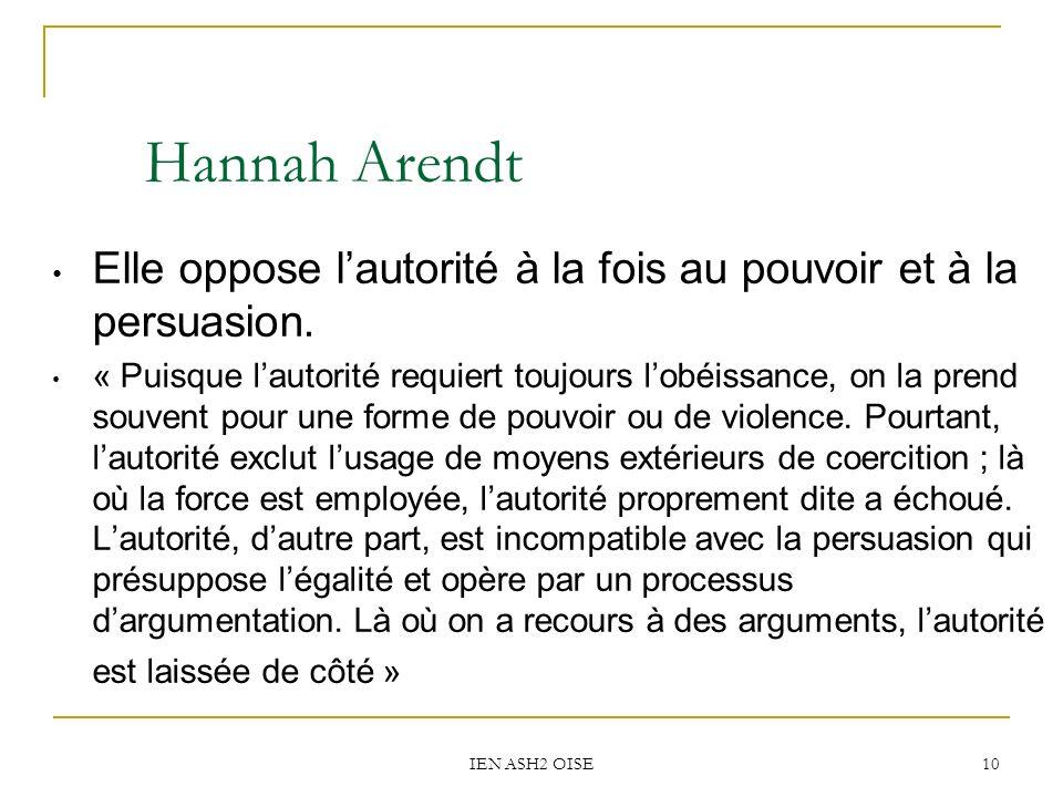 Hannah Arendt Elle oppose l'autorité à la fois au pouvoir et à la persuasion.