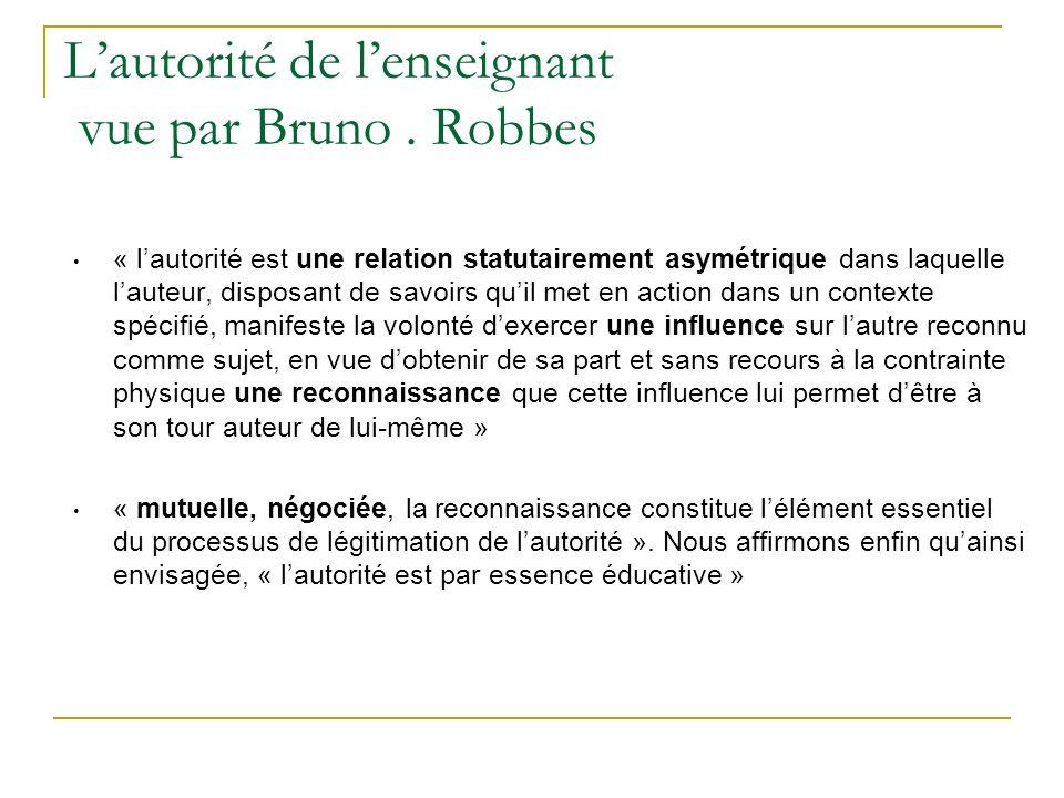 L'autorité de l'enseignant vue par Bruno . Robbes