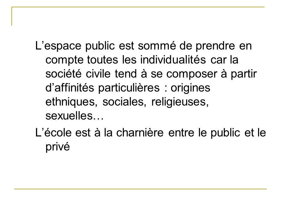 L'espace public est sommé de prendre en compte toutes les individualités car la société civile tend à se composer à partir d'affinités particulières : origines ethniques, sociales, religieuses, sexuelles…