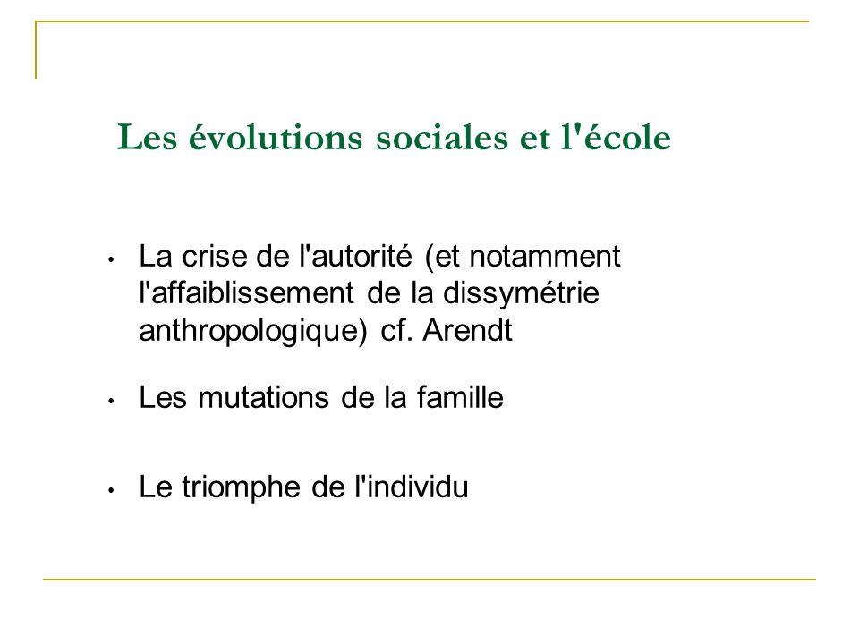 Les évolutions sociales et l école