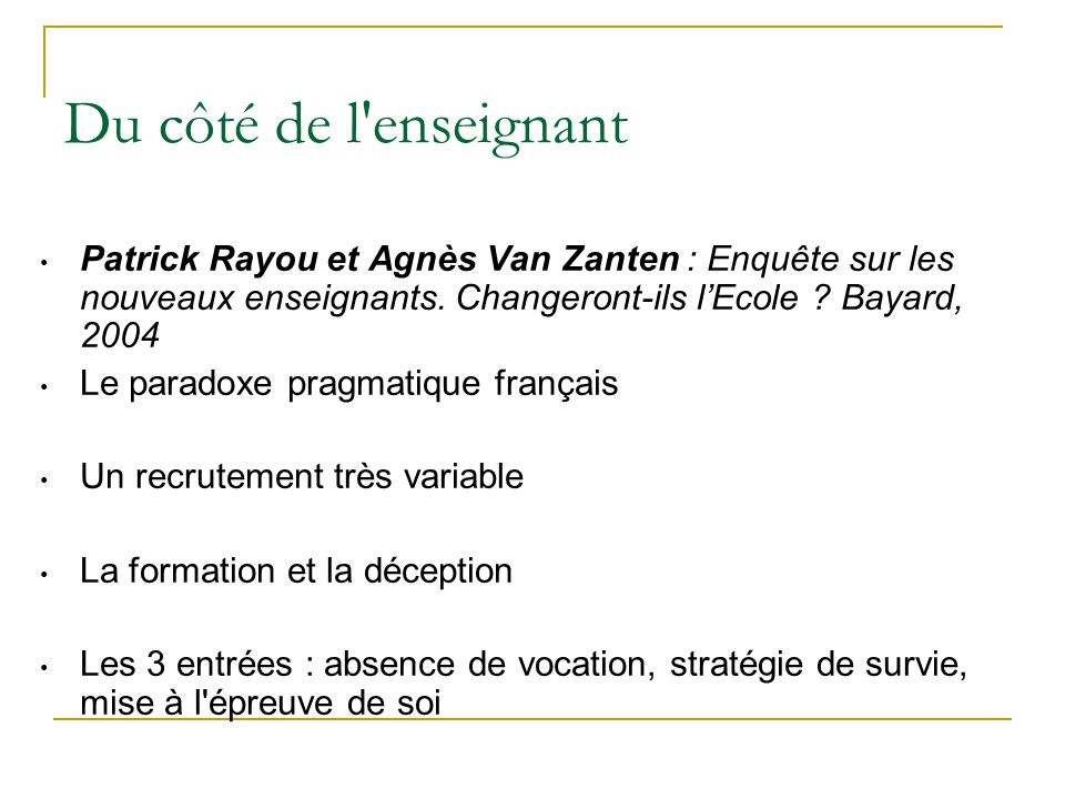Du côté de l enseignant Patrick Rayou et Agnès Van Zanten : Enquête sur les nouveaux enseignants. Changeront-ils l'Ecole Bayard, 2004.
