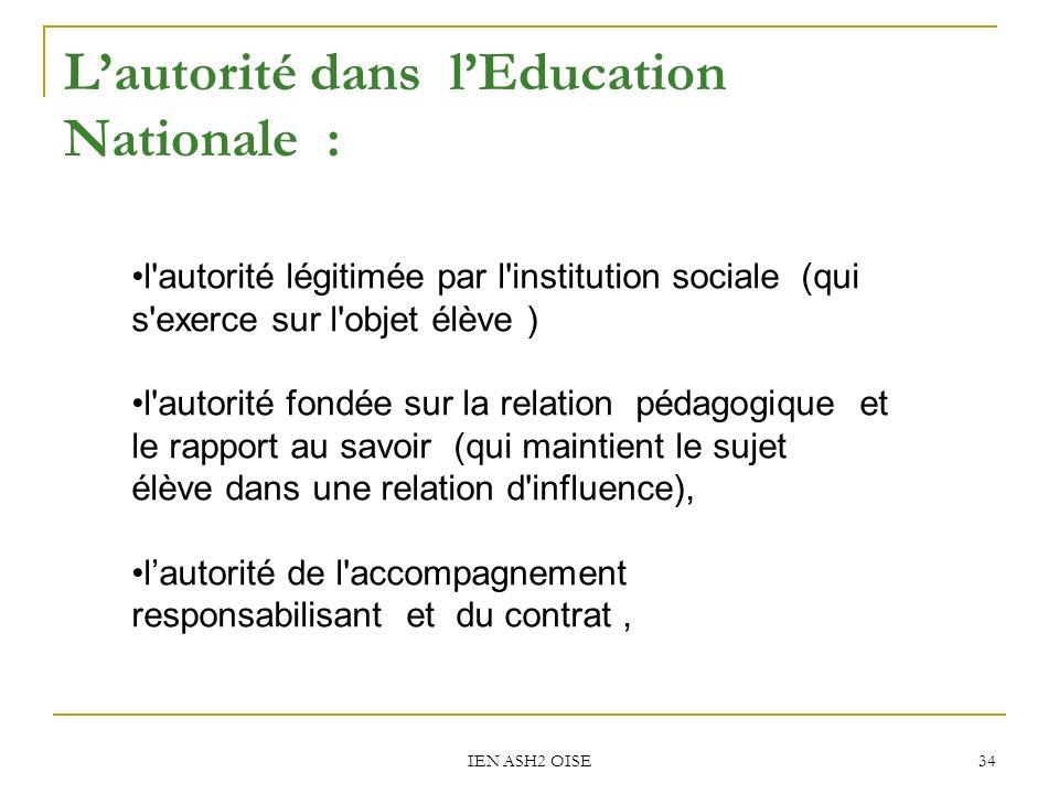 L'autorité dans l'Education Nationale :