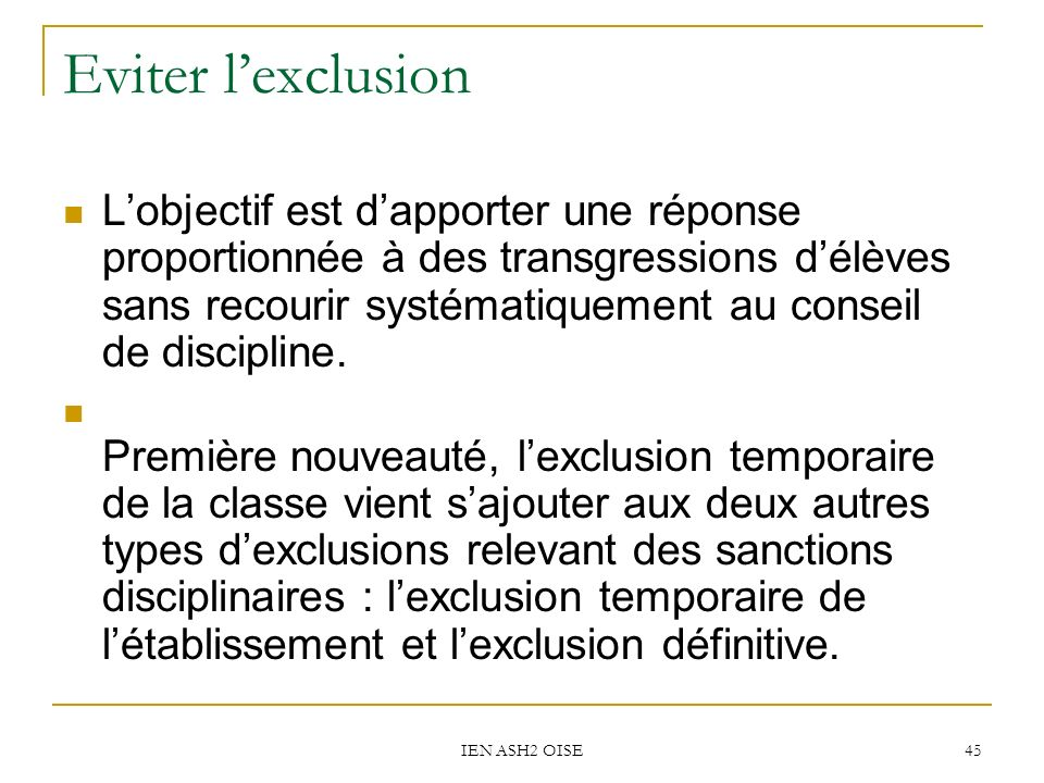 Eviter l'exclusion