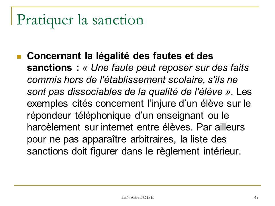 Pratiquer la sanction
