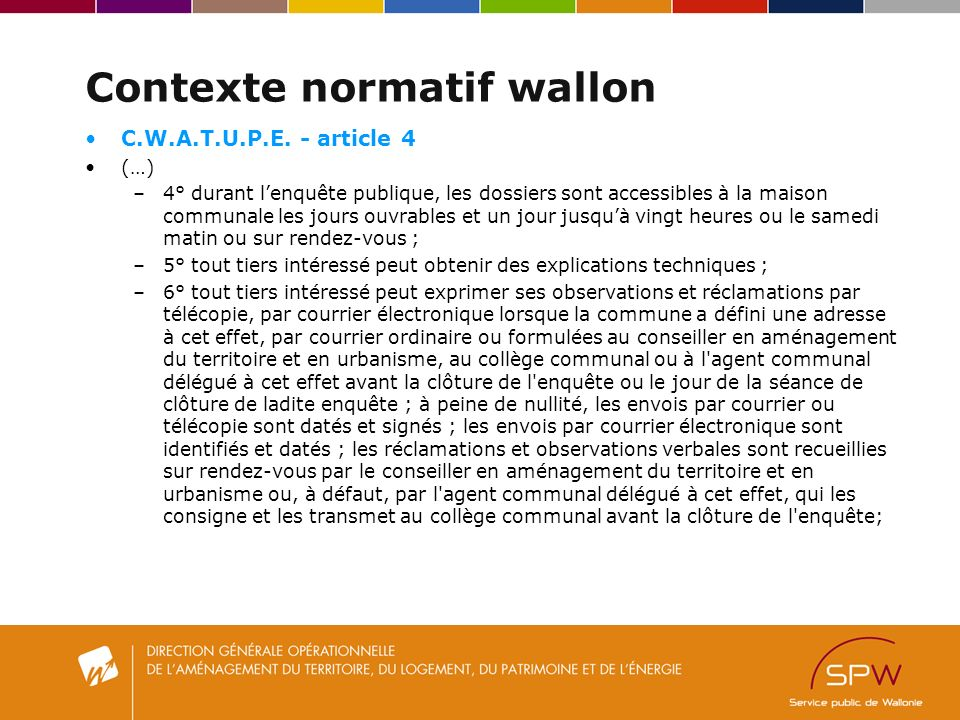 Contexte normatif wallon