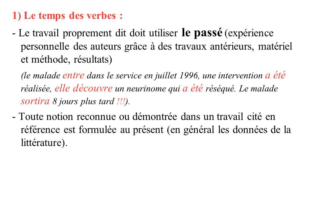 1) Le temps des verbes :
