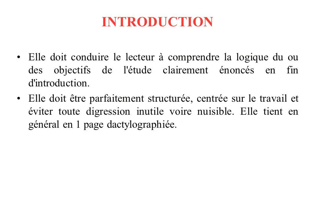 INTRODUCTION Elle doit conduire le lecteur à comprendre la logique du ou des objectifs de l étude clairement énoncés en fin d introduction.