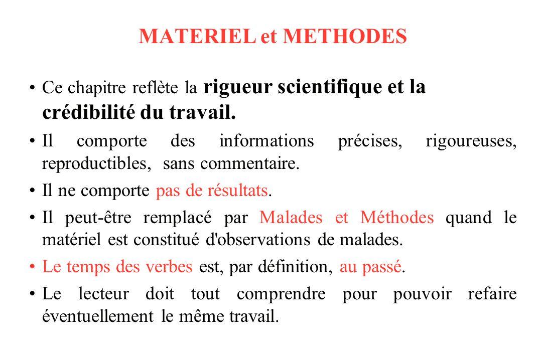 MATERIEL et METHODES Ce chapitre reflète la rigueur scientifique et la crédibilité du travail.