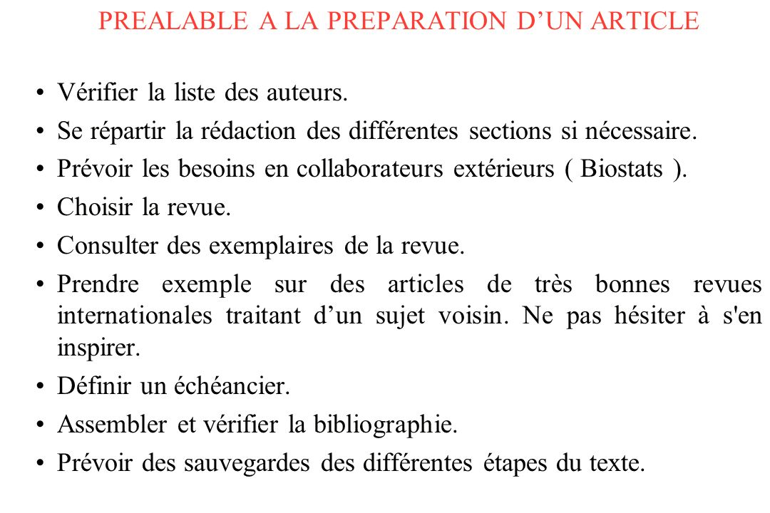PREALABLE A LA PREPARATION D'UN ARTICLE