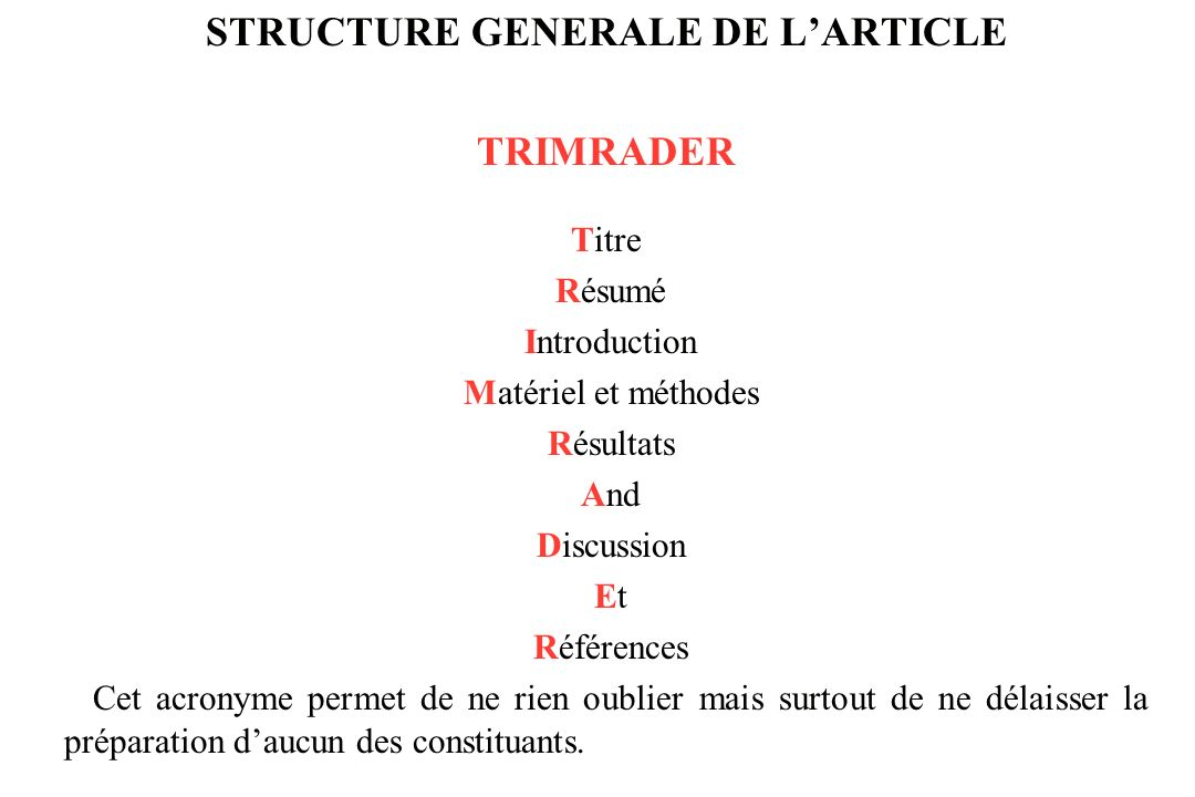 STRUCTURE GENERALE DE L'ARTICLE