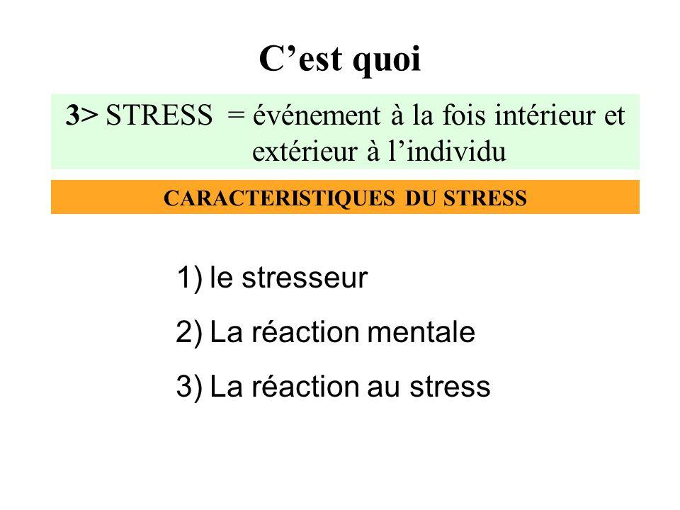 CARACTERISTIQUES DU STRESS