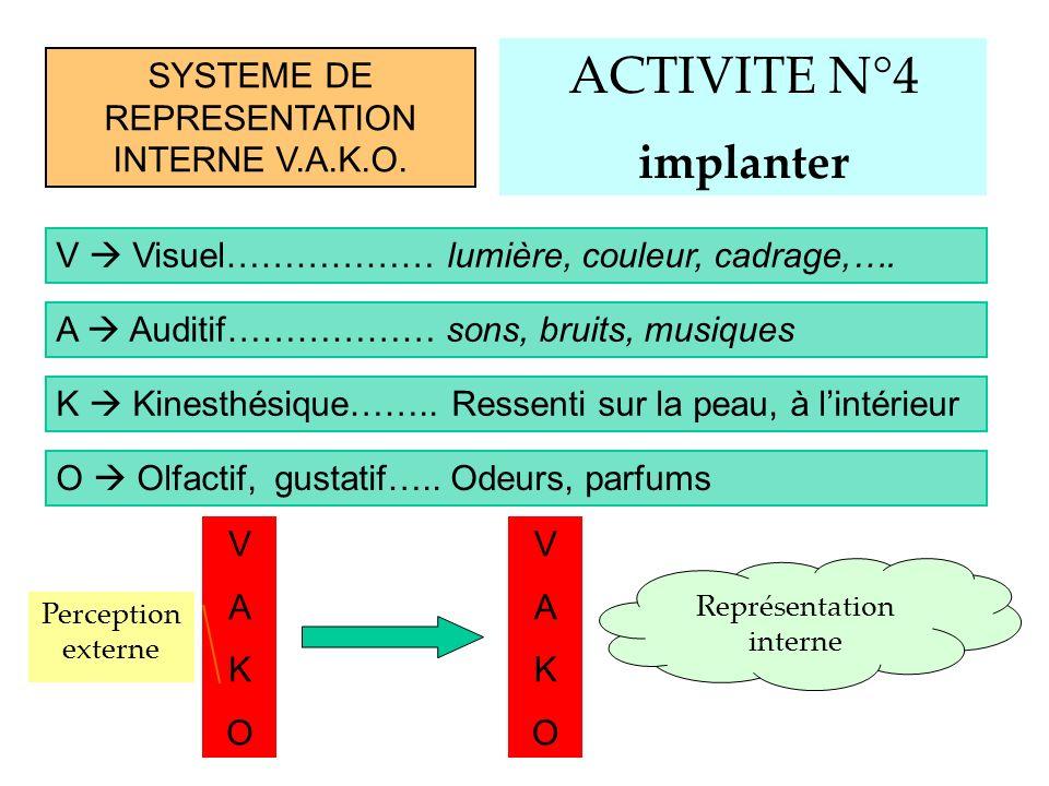ACTIVITE N°4 implanter SYSTEME DE REPRESENTATION INTERNE V.A.K.O.