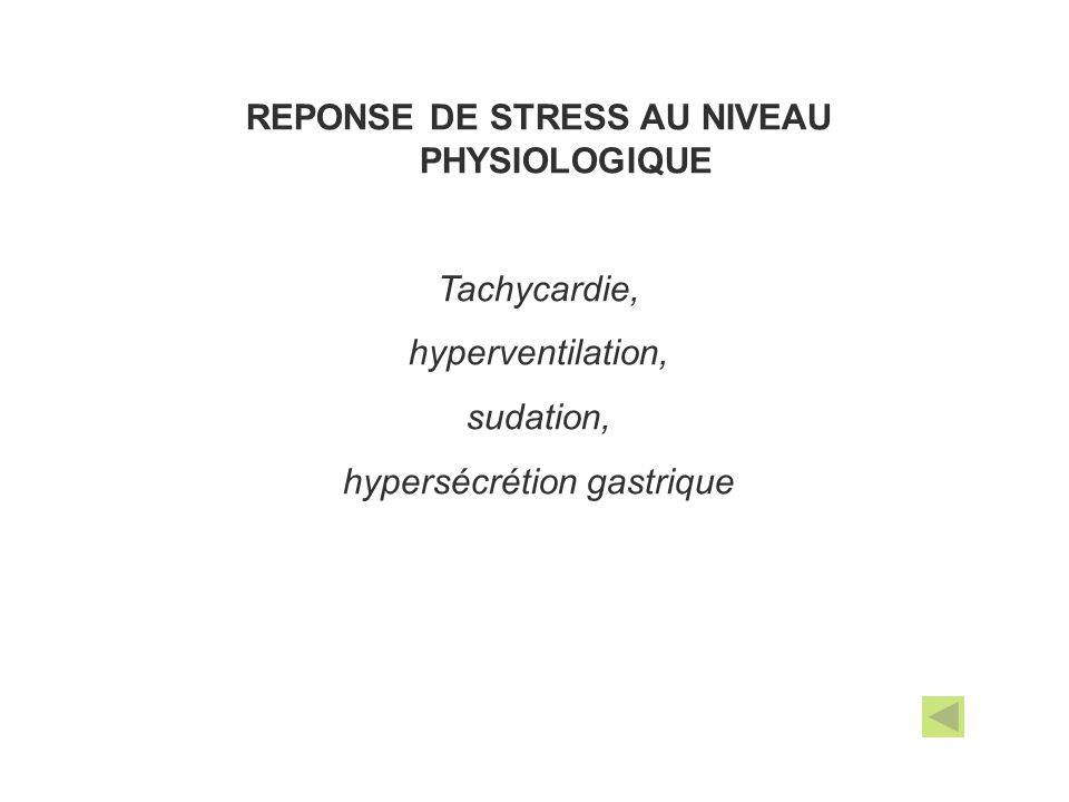 REPONSE DE STRESS AU NIVEAU PHYSIOLOGIQUE
