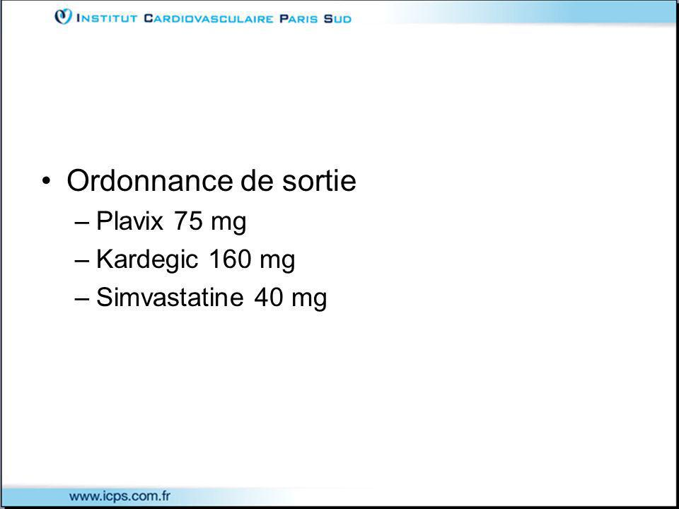Ordonnance de sortie Plavix 75 mg Kardegic 160 mg Simvastatine 40 mg