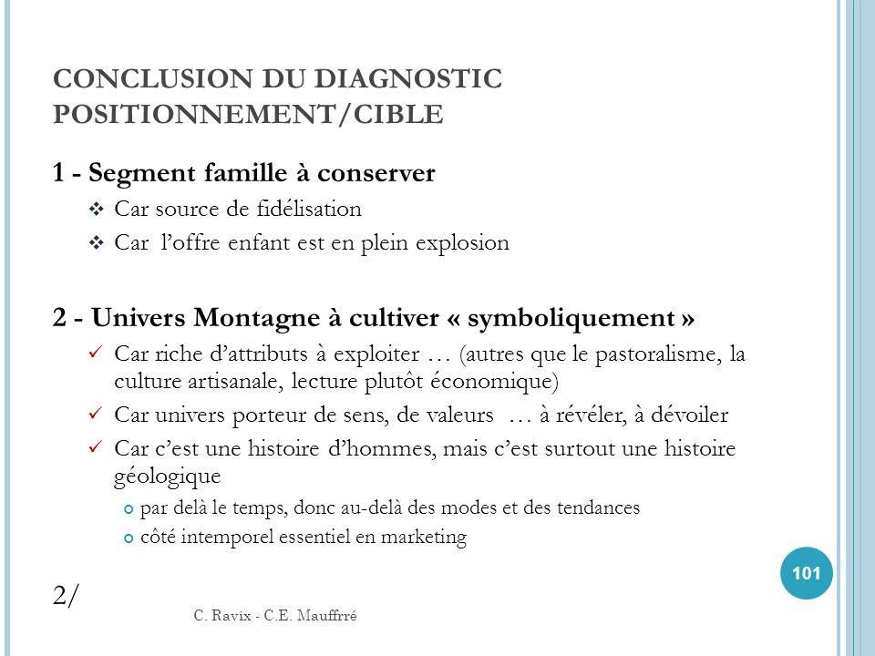 CONCLUSION DU DIAGNOSTIC POSITIONNEMENT/CIBLE
