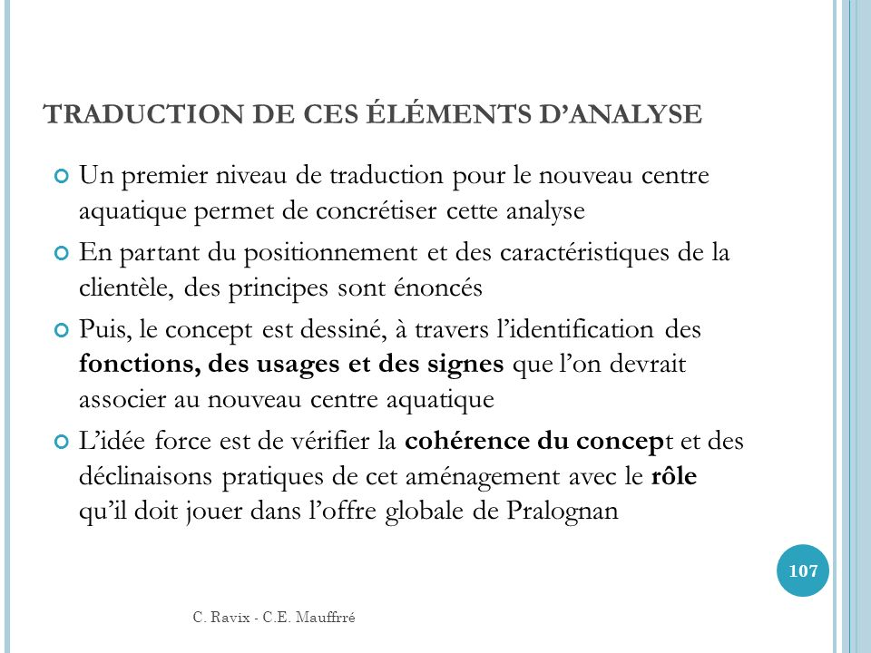 TRADUCTION DE CES ÉLÉMENTS D'ANALYSE