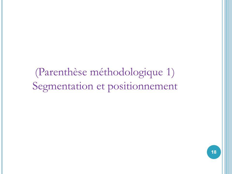 (Parenthèse méthodologique 1) Segmentation et positionnement