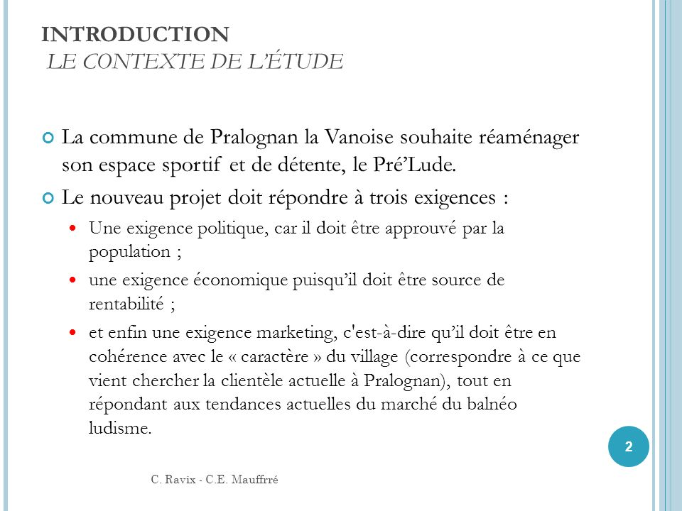 INTRODUCTION LE CONTEXTE DE L'ÉTUDE