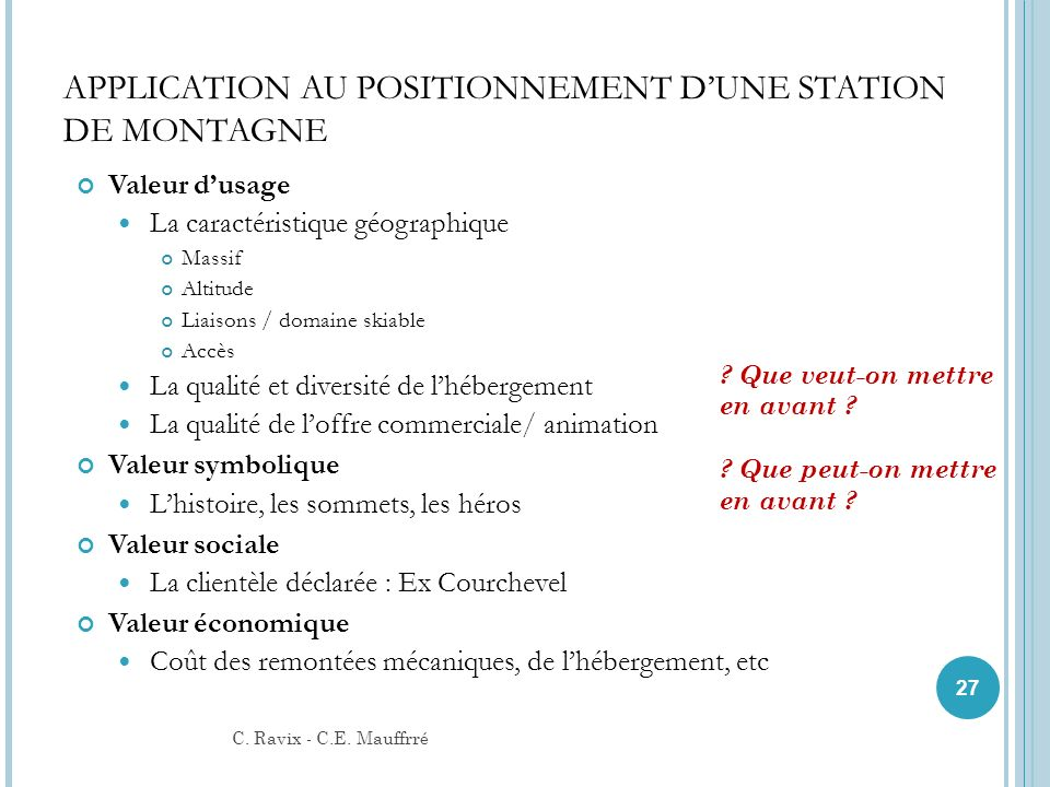 APPLICATION AU POSITIONNEMENT D'UNE STATION DE MONTAGNE