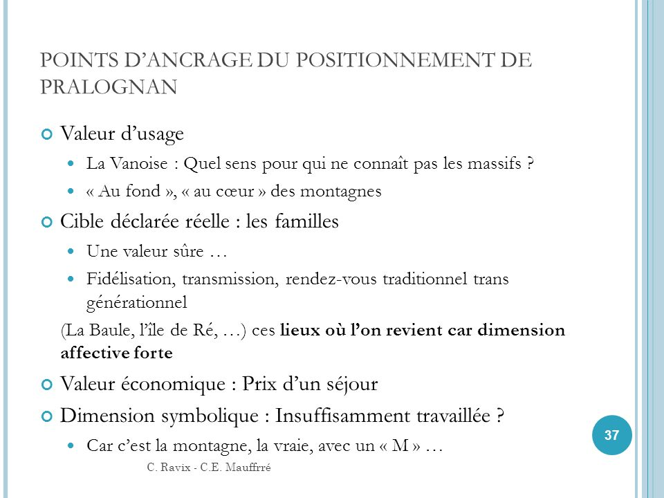 POINTS D'ANCRAGE DU POSITIONNEMENT DE PRALOGNAN