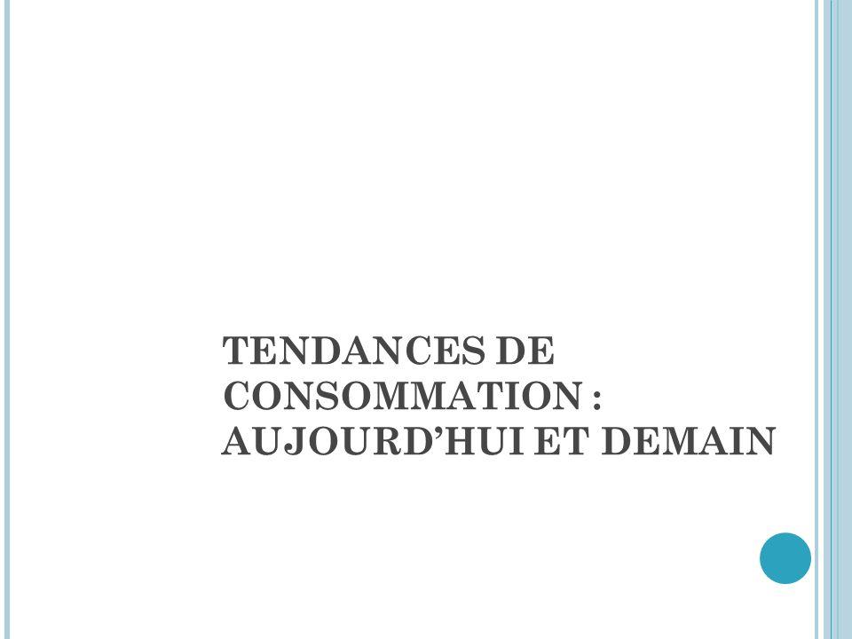 TENDANCES DE CONSOMMATION : AUJOURD'HUI ET DEMAIN