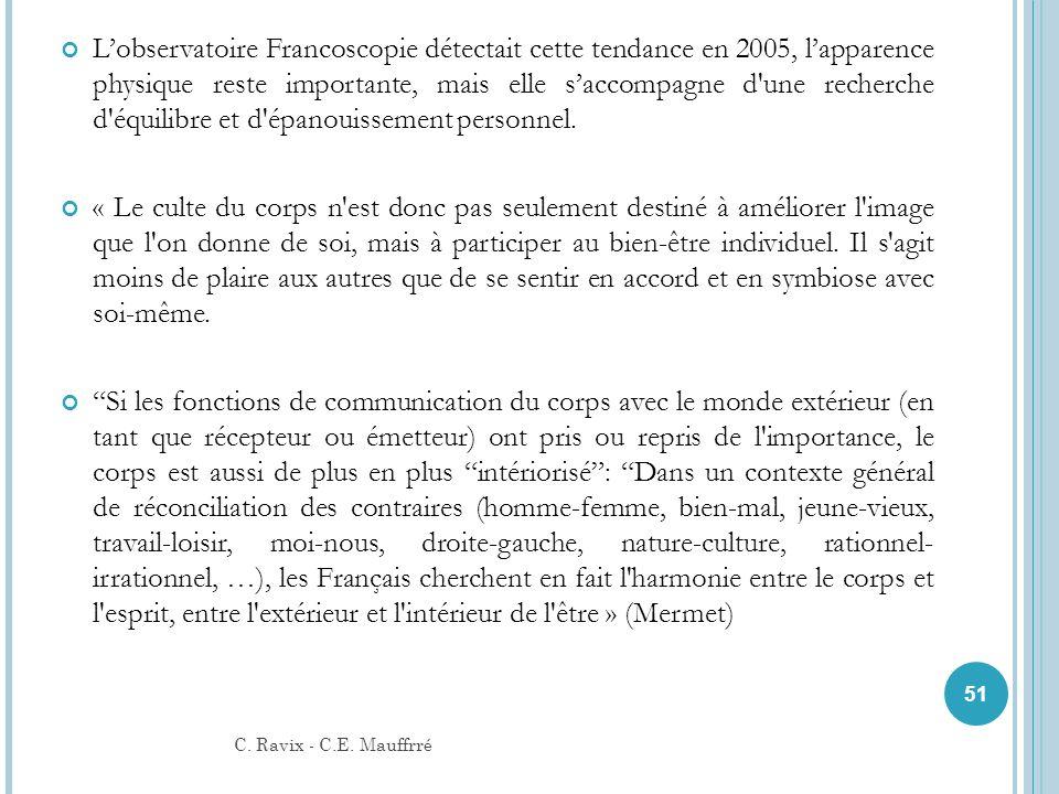 L'observatoire Francoscopie détectait cette tendance en 2005, l'apparence physique reste importante, mais elle s'accompagne d une recherche d équilibre et d épanouissement personnel.